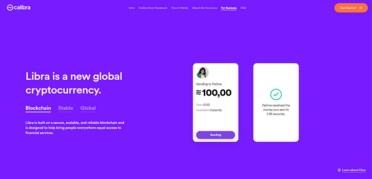 Facebook cryptocurrency platform Calibra
