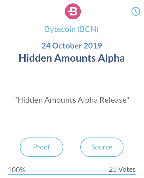 Bytecoin Hidden Amounts Alpha release