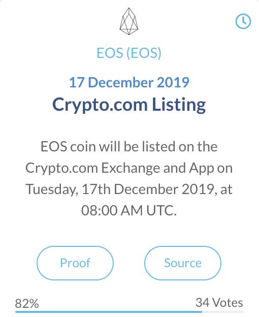 EOS crypto com exchange listing