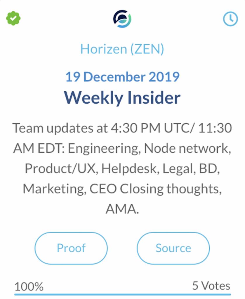 Horizen ZEN wekelijkse update