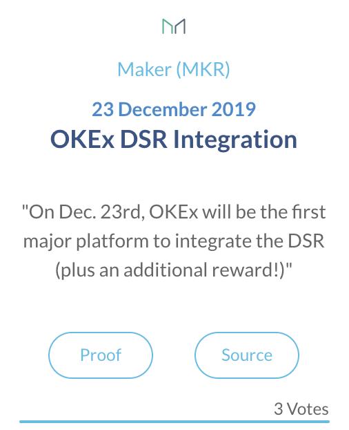 Maker MKR OKEx DSR integratie