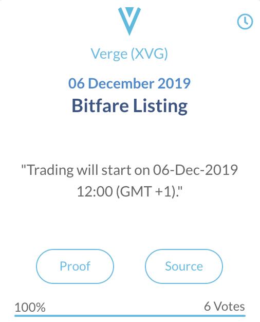 Verge XVG Bitfare listing