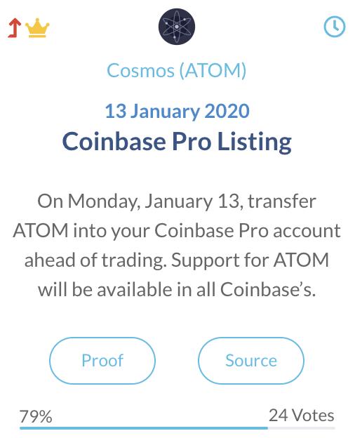 Cosmos ATOM Coinbase Pro listing