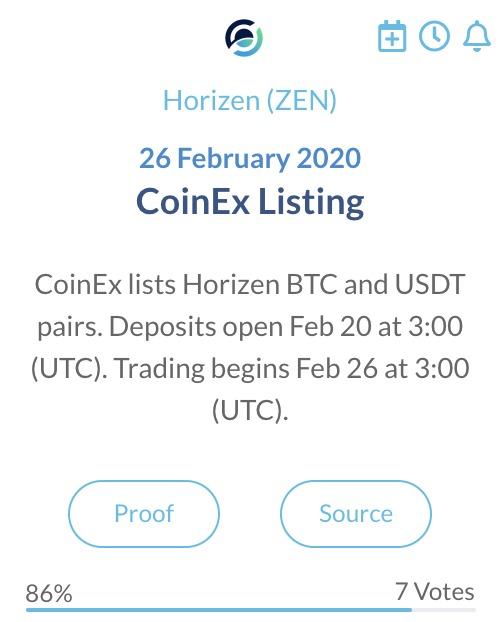 Horizen ZEN CoinEX Listing