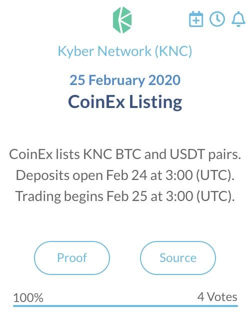 KyberNetwork KNC CoinEx Listing