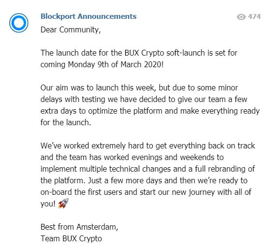 Bux Crypto Blockport lancering