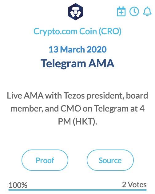 Crypto.com Coin CRO Telegram AMA