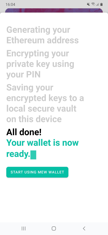 MEW wallet wordt aangemaakt