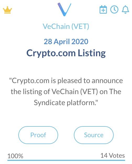 VeChain Crypto.com Listing