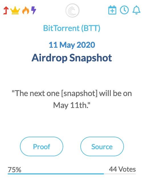BitTorrent Airdrop Snapshot 11-05-2020