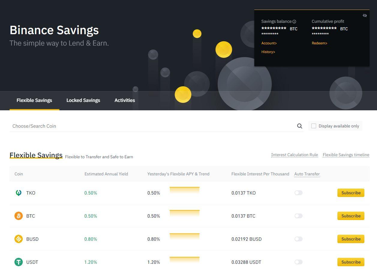 Binance Savings staking